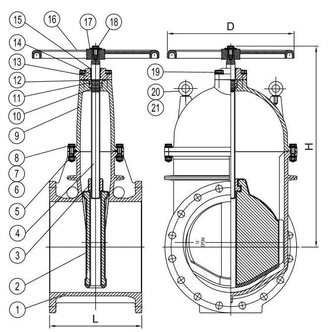 UL Listed NRS Valve Handwheel - FLange x Flange